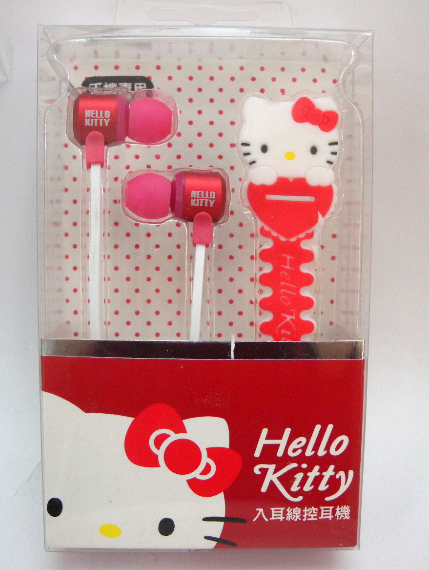 凱蒂貓Hello Kitty_音響耳機_Hello Kitty-入耳線控耳機附集線器-紅