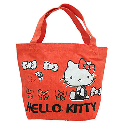 凱蒂貓Hello Kitty_手提包袋_Hello Kitty-帆布小提袋-KT花園紅