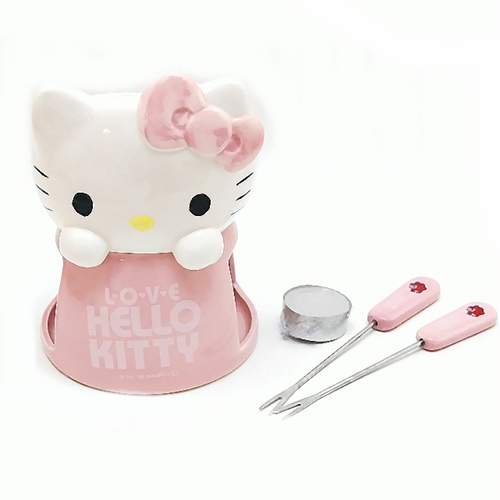 凱蒂貓Hello Kitty_廚房衛浴_Hello Kitty-造型巧克力鍋-粉結