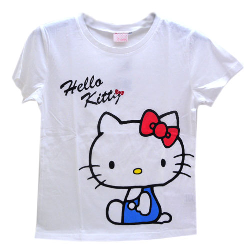 凱蒂貓Hello Kitty_Hello Kitty_Hello Kitty-綿T-藍衣坐姿M