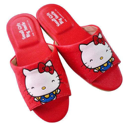 凱蒂貓Hello Kitty_Hello Kitty-50TH室內皮拖-紅