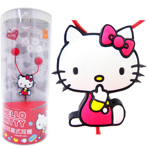 凱蒂貓Hello Kitty_音響耳機_Hello Kitty-糖果風造型耳機-側坐紅