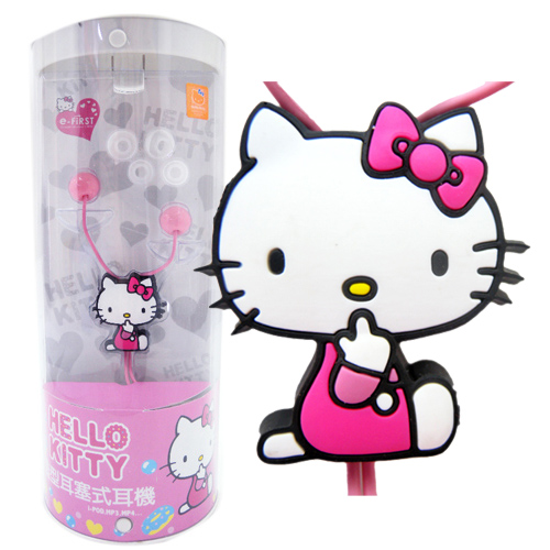 凱蒂貓Hello Kitty_音響耳機_Hello Kitty-糖果風造型耳機-側坐粉