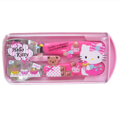 凱蒂貓Hello Kitty_廚房用品_Hello Kitty-湯叉組-巧克力粉