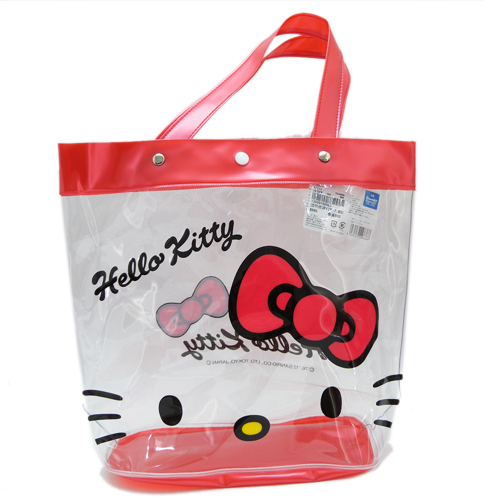 凱蒂貓Hello Kitty_手提包袋_Hello Kitty-透明提袋VTK-大臉紅