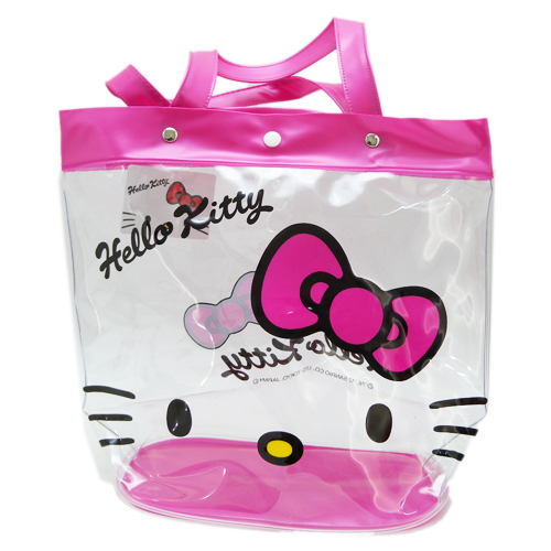 凱蒂貓Hello Kitty_手提包袋_Hello Kitty-透明提袋VTK-大臉桃紅