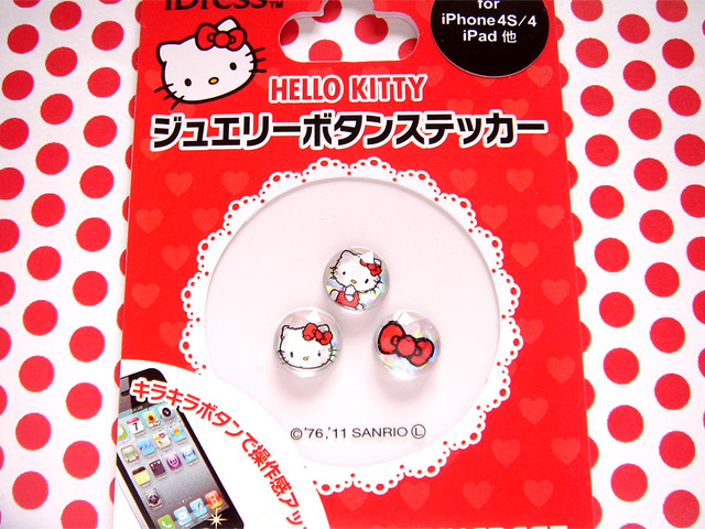 凱蒂貓Hello Kitty_流行百貨_Hello Kitty-iPhone 4S HOME鍵貼紙-紅