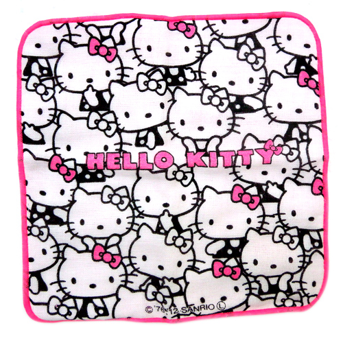 凱蒂貓Hello Kitty_衛浴用品_Hello Kitty-小方巾-白底滿版多姿態