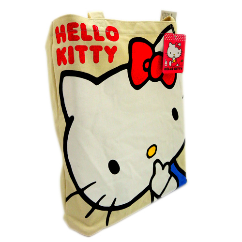 凱蒂貓Hello Kitty_手提包袋_Hello Kitty- 帆布綿提袋-吸指紅結米