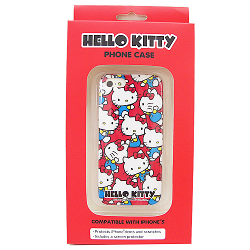 凱蒂貓Hello Kitty_電子3C館_Hello Kitty-IP5手機殼-KT多姿態紅