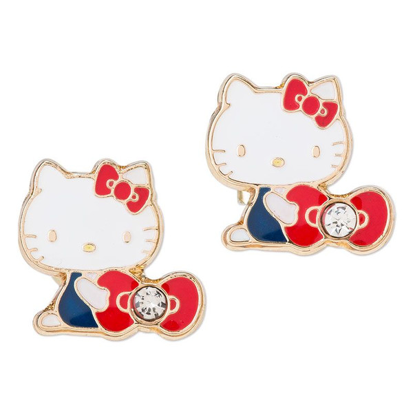 凱蒂貓Hello Kitty_流行生活精品_Hello Kitty- 耳針式耳環-KT抱紅結