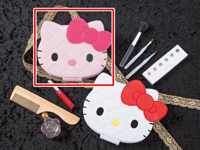 凱蒂貓Hello Kitty_流行生活精品_Hello Kitty- 造型亮皮菱格折立鏡-粉