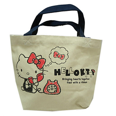 凱蒂貓Hello Kitty_手提包袋_Hello Kitty-  帆布小提袋-KT電話米