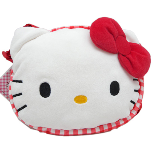凱蒂貓Hello Kitty_包包_Hello kitty-限定版頭型側背包-紅結紅格